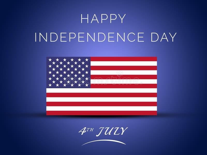 vierde van Gelukkige de Onafhankelijkheidsdag van Juli van Verenigde Staten van Amerika-Begroetende Kaart stock illustratie