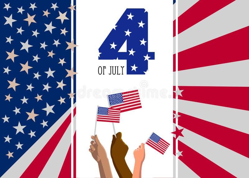 vierde van het aanplakbiljet van de de Onafhankelijkheidsdag van Juli de V.S., affiche of groetkaart stock illustratie