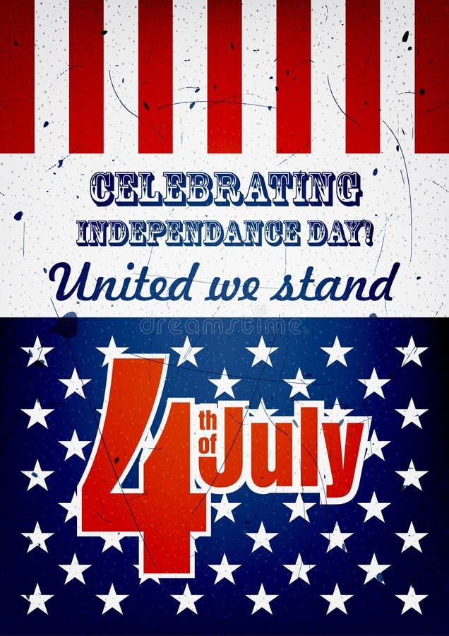 Vierde van juli-affiche stock illustratie