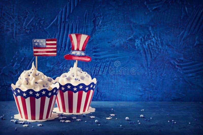 Vierde van Juli cupcakes stock foto's