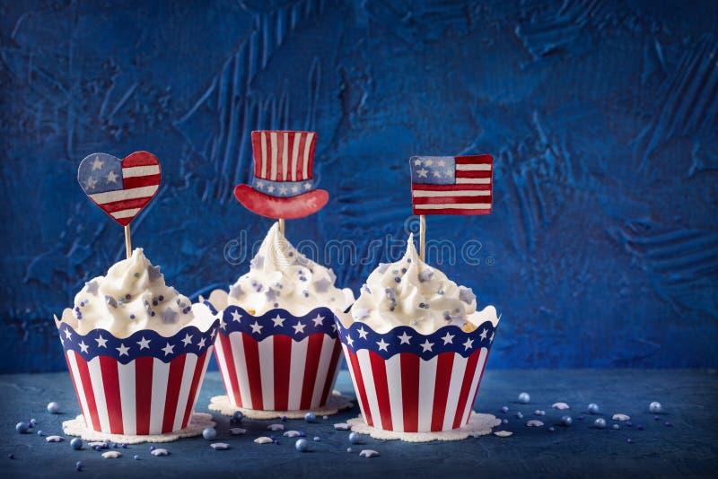Vierde van Juli cupcakes royalty-vrije stock foto's