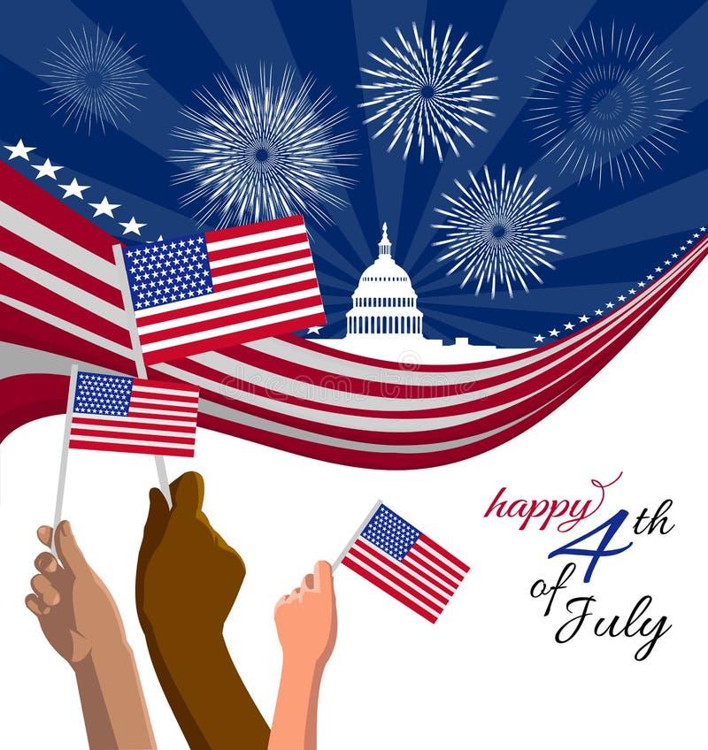 vierde van Juli-het aanplakbiljet van de Onafhankelijkheidsdag, banner of groetkaart vector illustratie