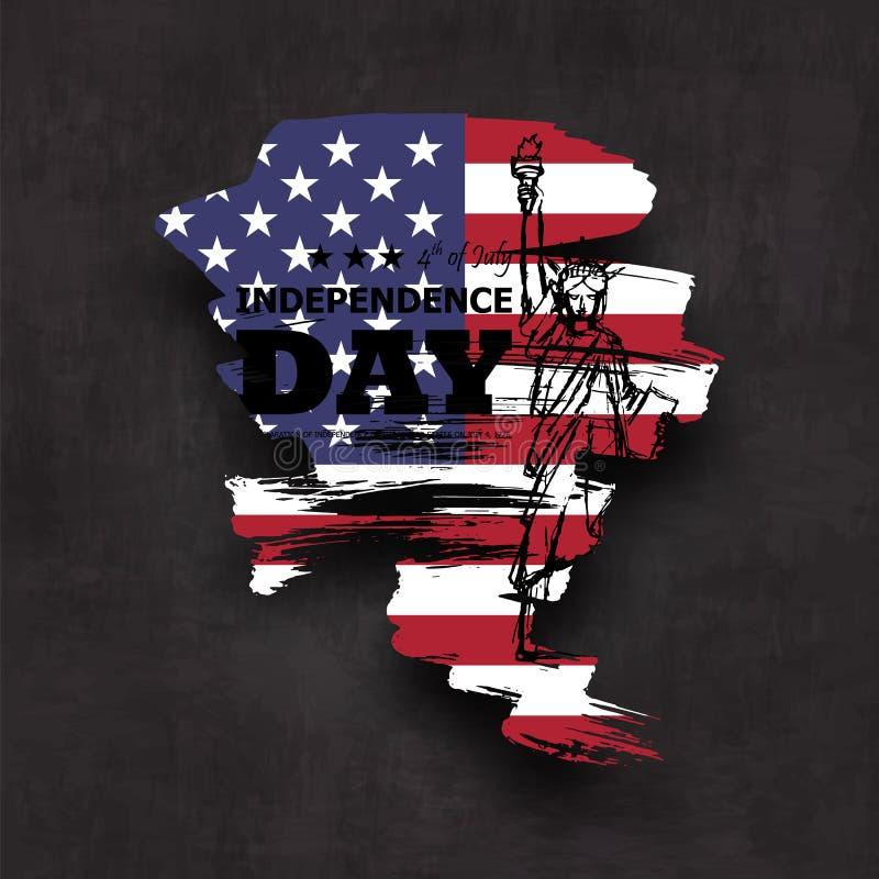 vierde van Juli-onafhankelijkheidsdag van de V.S. Ontwerpen de Grunge abstracte vorm met de vlag van Amerika en het standbeeld va stock illustratie