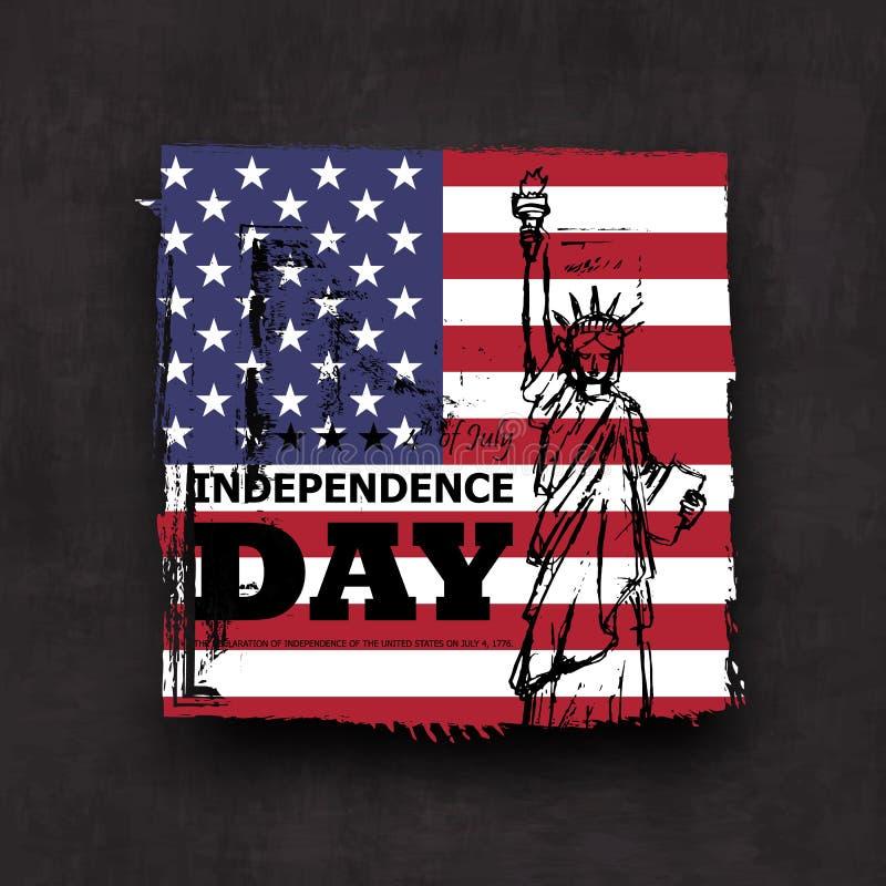 vierde van Juli-onafhankelijkheidsdag van de V.S. Ontwerpen de Grunge vierkante vorm met de vlag van Amerika en het standbeeld va stock illustratie