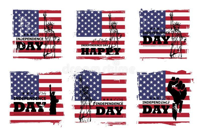 vierde van Juli-onafhankelijkheidsdag van de V.S. Reeks van diverse grunge vierkante vorm met de vlag van Amerika en standbeeld v stock illustratie