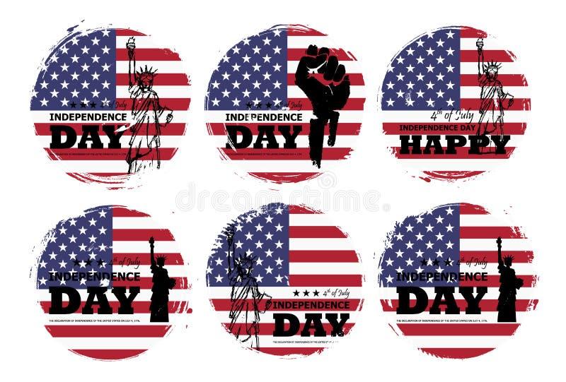 vierde van Juli-onafhankelijkheidsdag van de V.S. Reeks van diverse vorm van de grungecirkel met de vlag van Amerika en standbeel stock illustratie