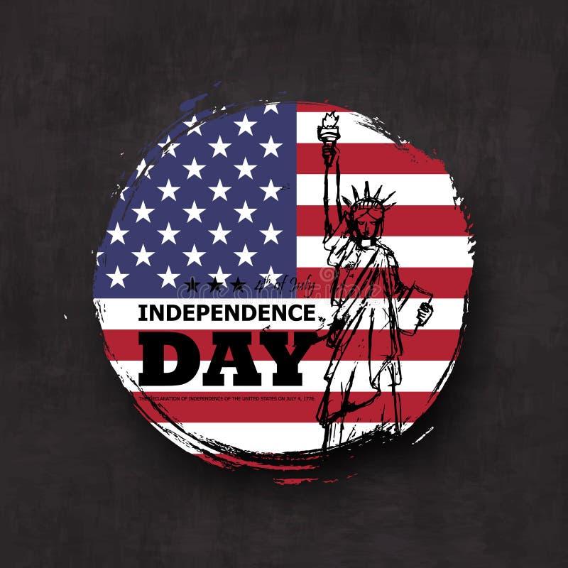 vierde van Juli-onafhankelijkheidsdag van de V.S. De vorm van de Grungecirkel met de vlag van Amerika en het standbeeld van vrijh royalty-vrije illustratie