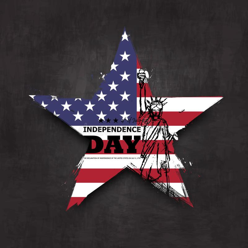 vierde van Juli-onafhankelijkheidsdag van de V.S. De vorm van de Grungester met de vlag van Amerika en het standbeeld van vrijhei stock illustratie