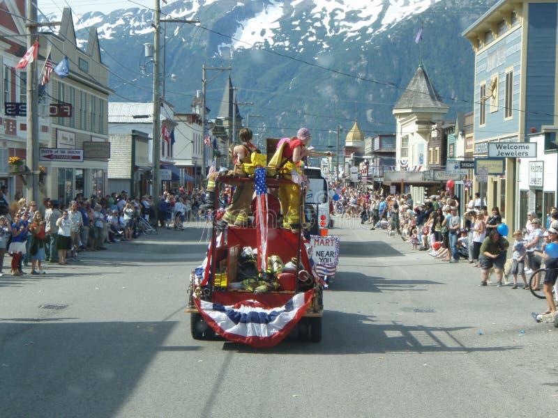 vierde van Juli-Parade Skagway Alaska royalty-vrije stock foto
