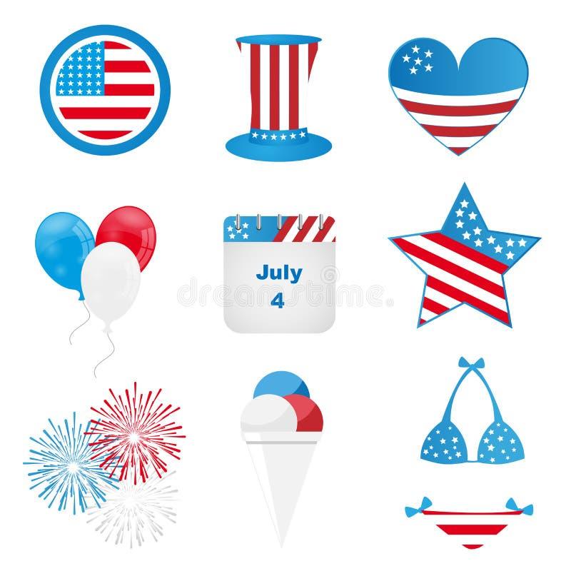 vierde van juli-pictogrammen stock illustratie