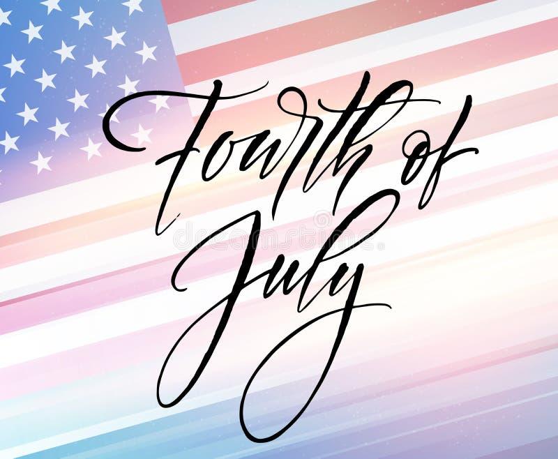 Vierde van Juli-vieringsbanner, het ontwerp van de groetkaart Gelukkige onafhankelijkheidsdag van de hand van de Verenigde Staten royalty-vrije illustratie