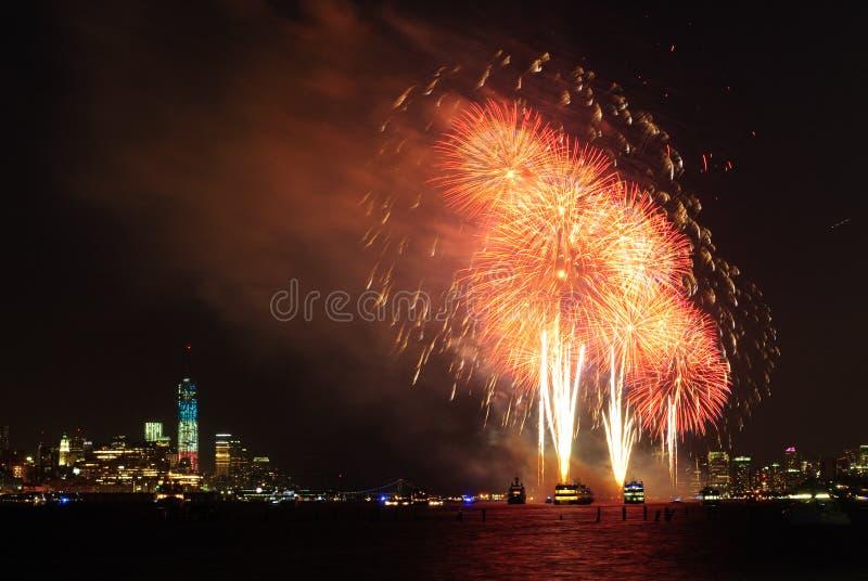 vierde van Juli-Vuurwerk in New York royalty-vrije stock afbeelding