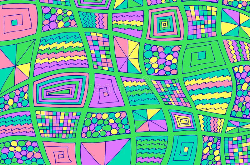 Viereckdoodles Abstrakter bunter psychedelischer Hintergrund Surreal Helle Kunstwerke Zeichnen Linienart Zierrahmen vektor abbildung
