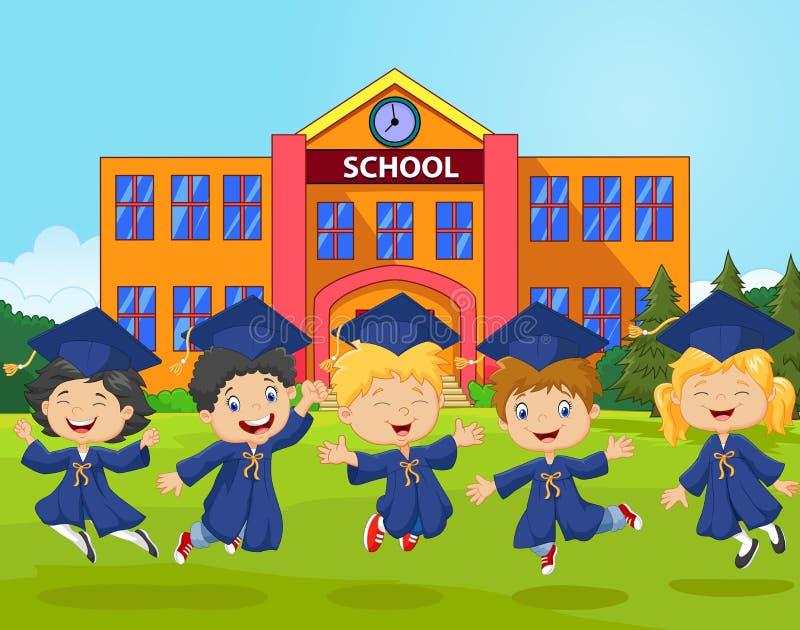 Vieren de beeldverhaal kleine jonge geitjes hun graduatie op schoolachtergrond stock illustratie