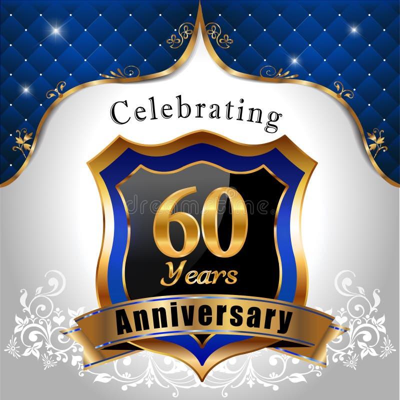 Vierend 60 jaar verjaardags, Gouden schild vector illustratie