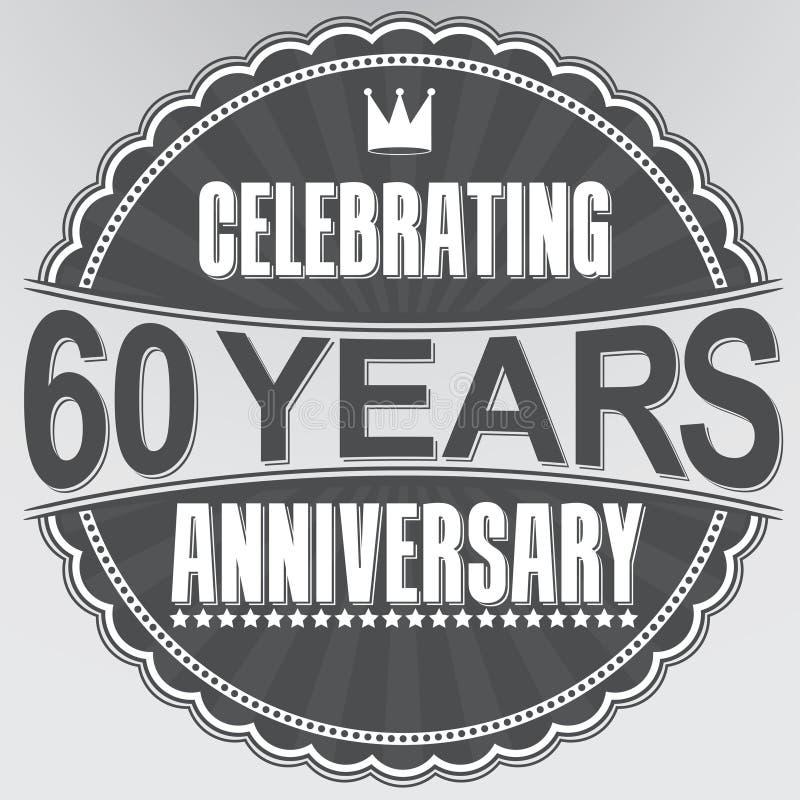 Vierend 60 van het verjaardags retro jaar etiket, vectorillustratio royalty-vrije illustratie