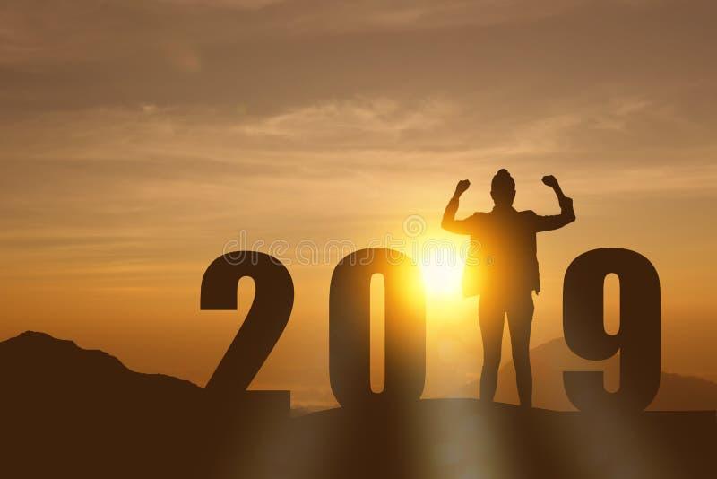 Vierende nieuwe van de de bedrijfs vrijheids jonge hoop van het jaar 2019 Silhouet vrouw die en zich op de bovenkant van de berg, royalty-vrije stock foto