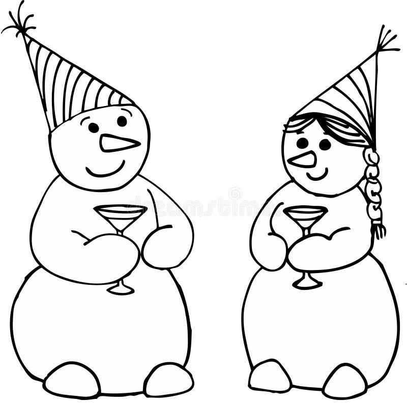 Vierende sneeuwmannen stock illustratie
