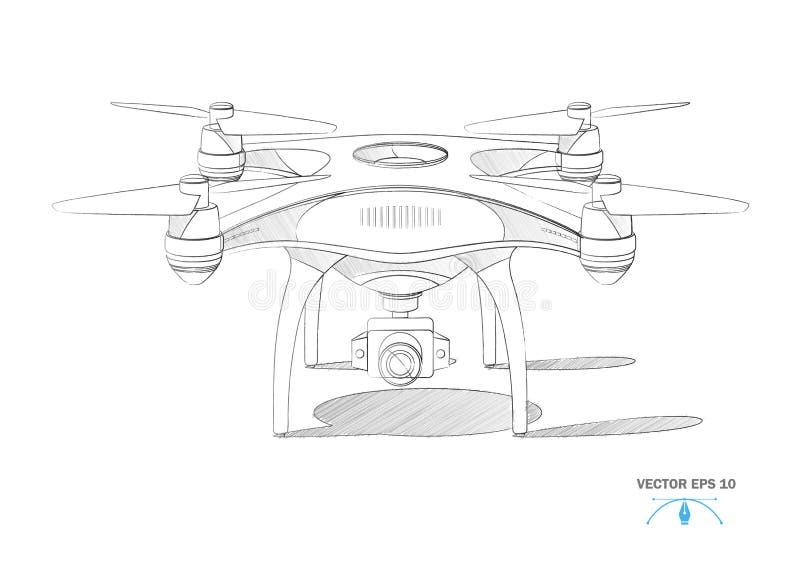 Viererkabelhubschrauber-Luftbrummen des Vektors realistisches mit Kamera lizenzfreie abbildung