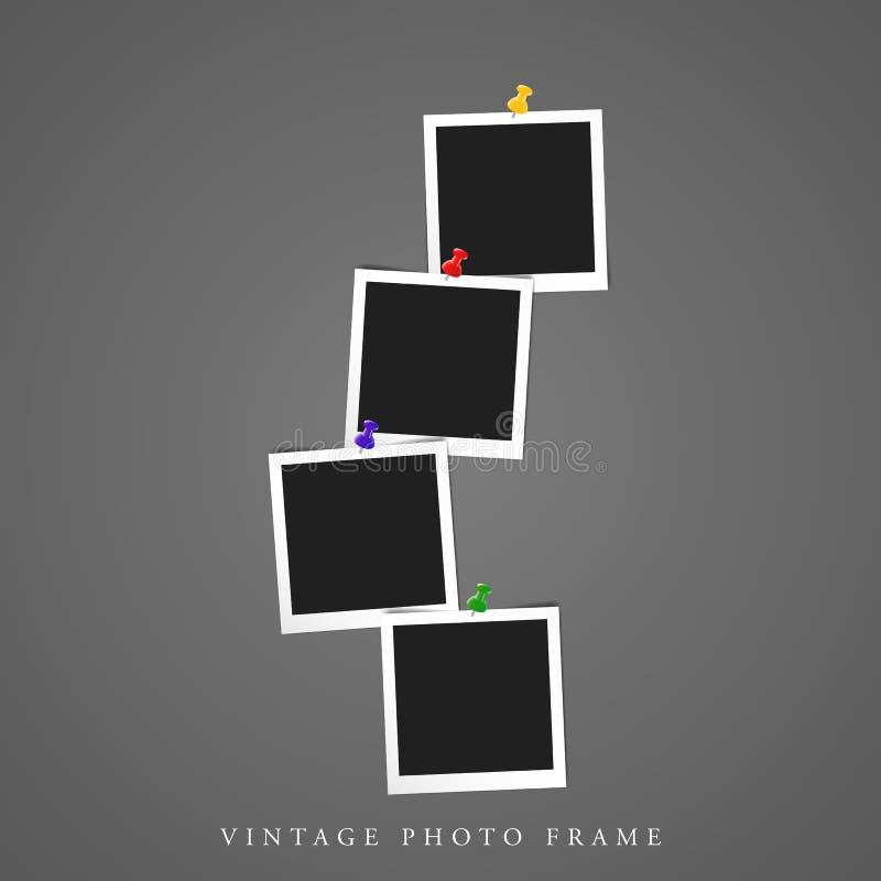 Vierfaches einzigartiges leeres Foto-Rahmenmodell der Weinlese vier vektor abbildung