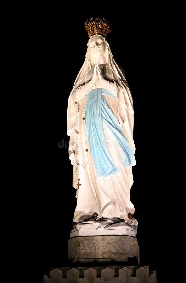 vierge allumée de ville de pélerin de lourdes Mary photos libres de droits