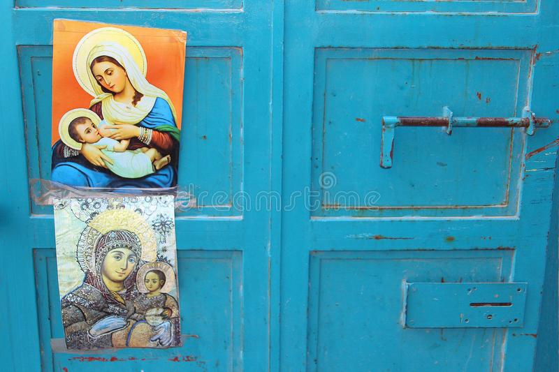 Vierge bleue Mary Jesus, Bethlehem d'affiches de portes images libres de droits