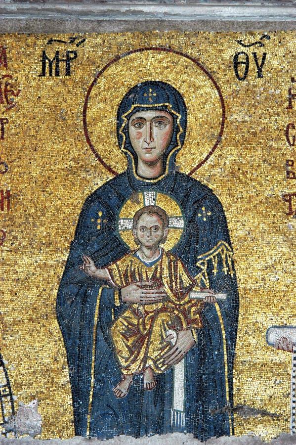 vierge de mosaïque du Christ Jésus Mary images libres de droits