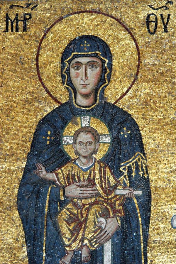 vierge de mosaïque du Christ Jésus Mary images stock