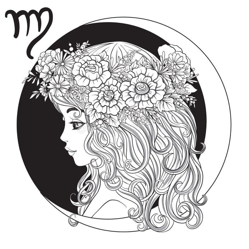 Vierge, jeune belle fille d'A sous forme d'un des signes de illustration stock