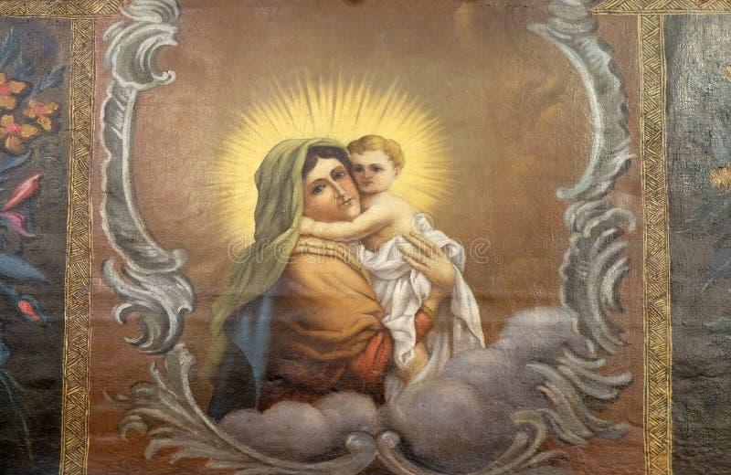 Vierge Marie avec la chéri Jésus images libres de droits