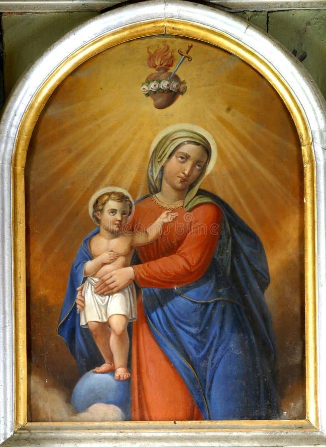Vierge Marie avec la chéri Jésus image stock
