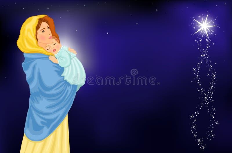Vierge Marie et chéri Jésus illustration stock