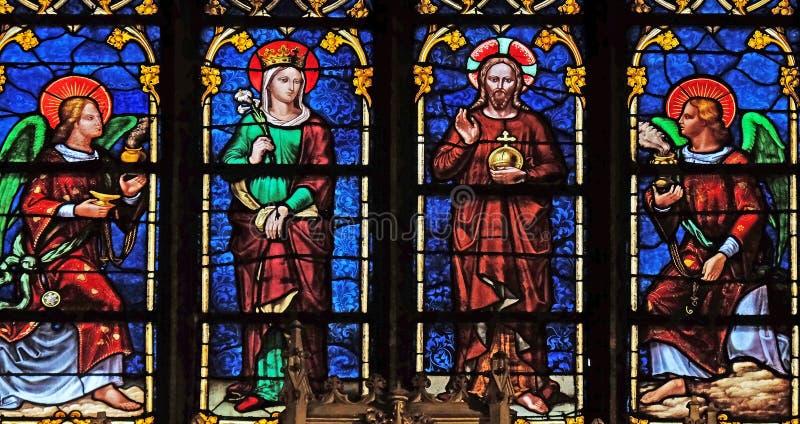 Vierge Marie et J?sus avec des anges images stock