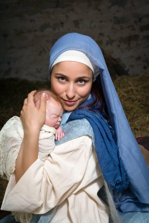 Vierge Marie heureuse avec le bébé photos libres de droits