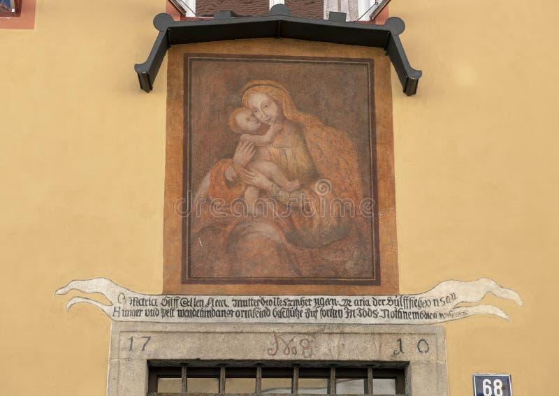 Vierge Marie Peinture De Mur Avec Le Bébé Jésus Cesky