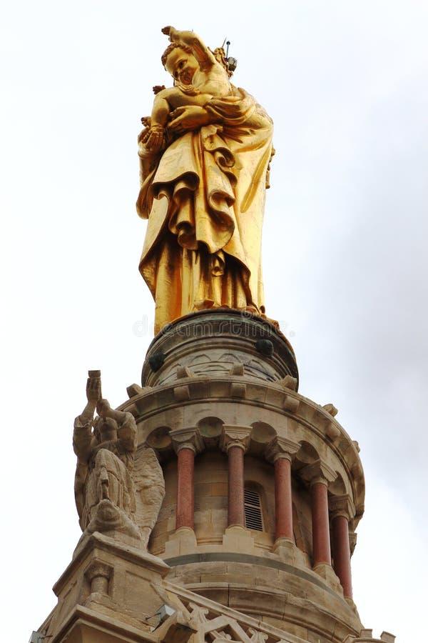 Vierge Marie sur la tour de cloche de Notre Dame de la Garde, Marseille photographie stock