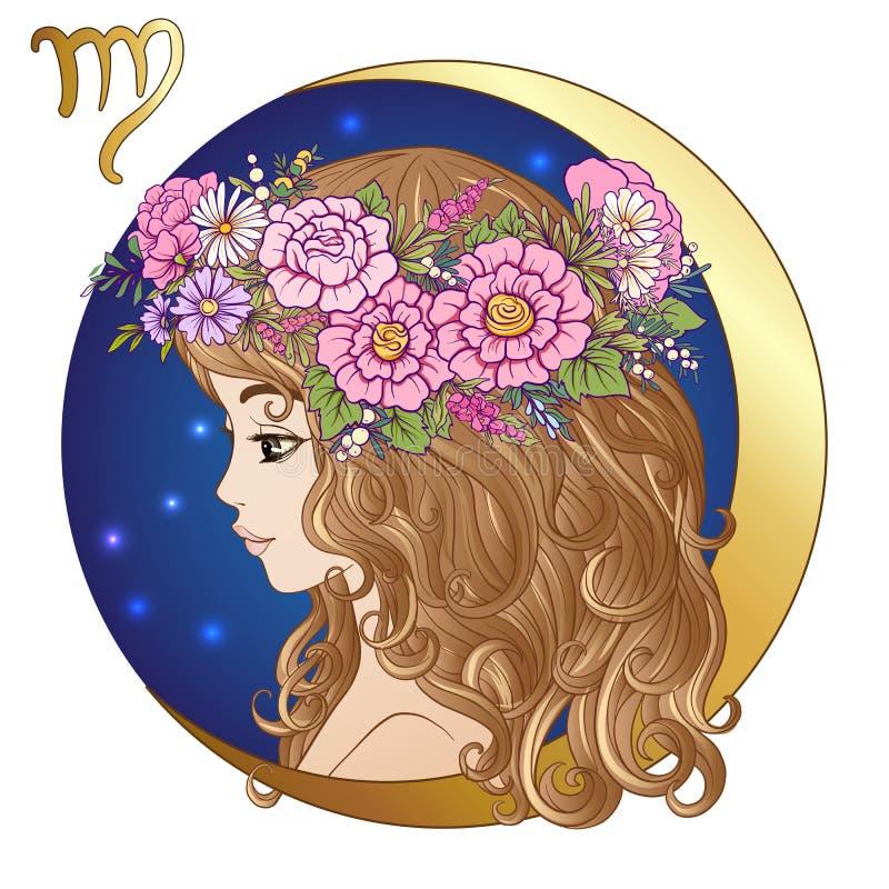 vierge Une jeune belle fille sous forme d'un des signes de illustration stock
