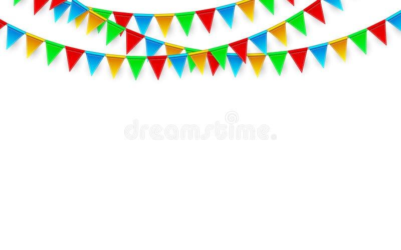 Viering Carnaval Partijachtergrond met Vlaggen De kaart van de luxegroet Vector illustratie vector illustratie