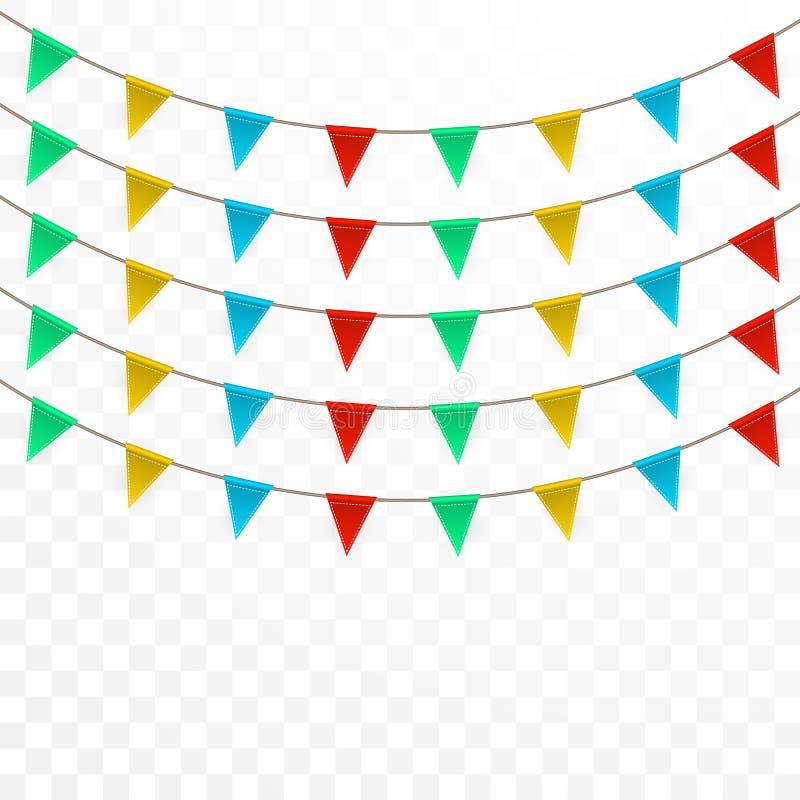 Viering Carnaval Partijachtergrond met Vlaggen De kaart van de luxegroet Vector illustratie royalty-vrije illustratie