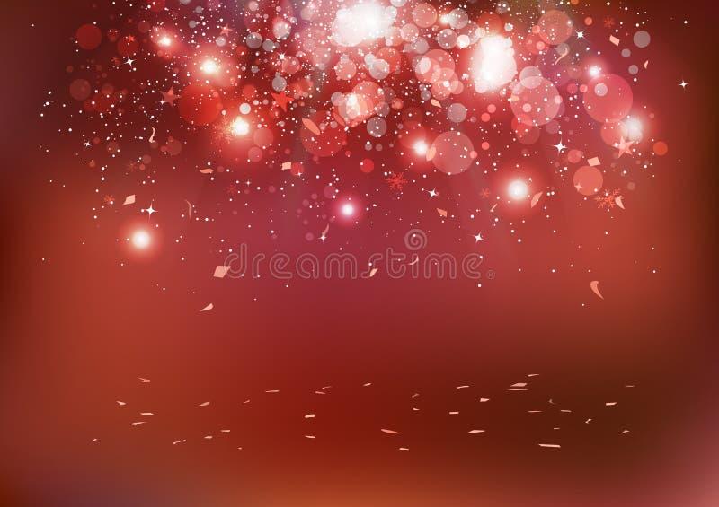 Viering, de gebeurtenis die van de Kerstmispartij, confettien op vloer, s vallen royalty-vrije illustratie