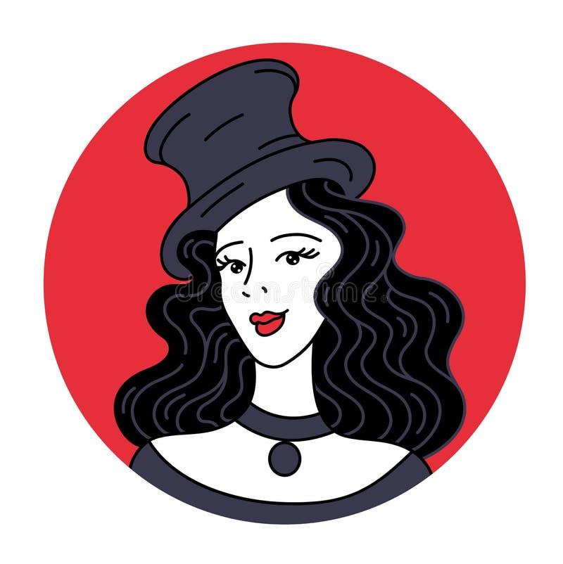 Viering en partij Uitstekende lijnenbanner voor uitnodiging of kaart Sexy Retro Cabaret Betoverende vrouw in retro hoed stock illustratie