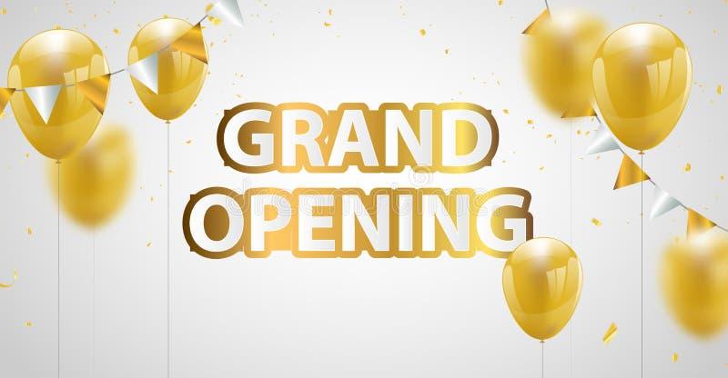 Viering grote het openen banner met Gouden ballonsachtergrond Verkoopvector vector illustratie