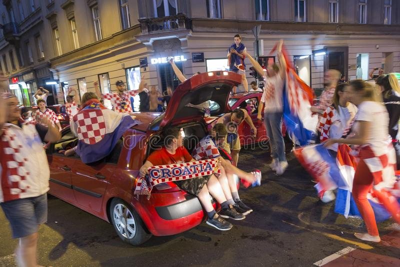 Viering in Kroatisch kapitaal na de definitieve Wereldbeker van FIFA 2018 stock afbeelding