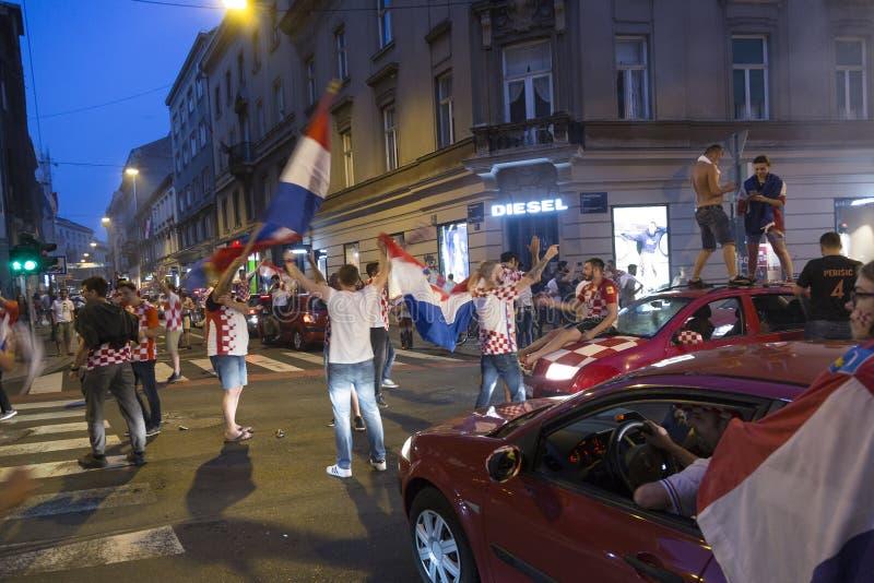 Viering in Kroatisch kapitaal na de definitieve Wereldbeker van FIFA 2018 royalty-vrije stock foto's