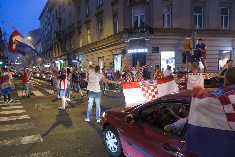 Viering in Kroatisch kapitaal na de definitieve Wereldbeker van FIFA 2018 stock fotografie