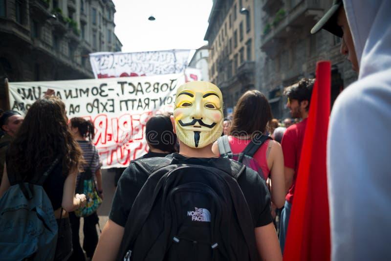 Viering van bevrijding in Milaan op 25 April 2014 wordt gehouden die stock foto