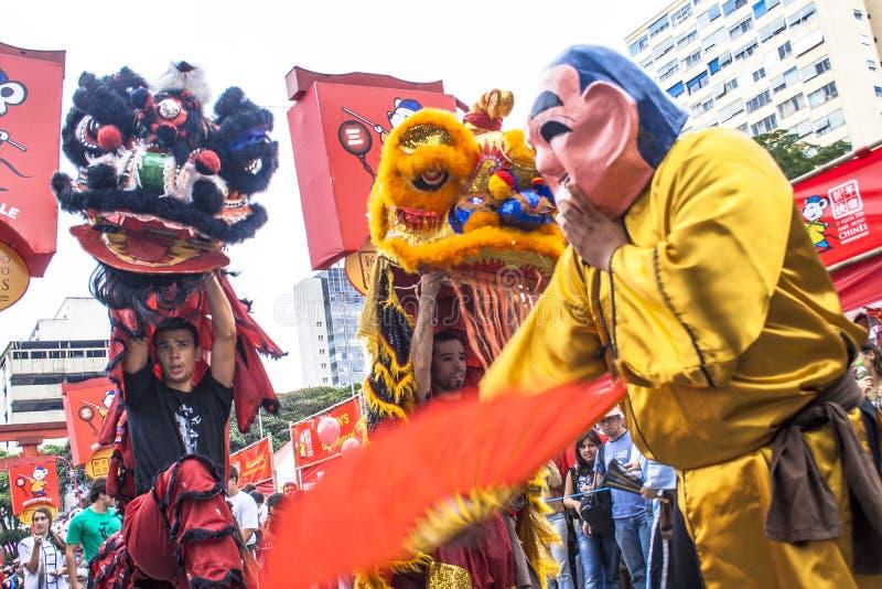 Viering van Chinees Nieuwjaar in Brazilië stock foto's