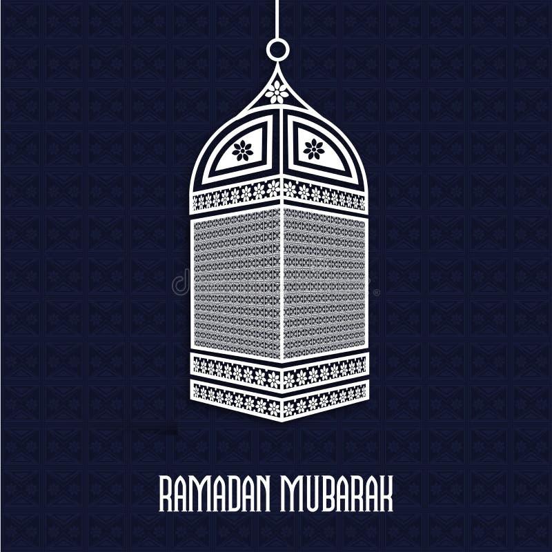 Viering van de maandramadan kareem van moslims de heilige met bloemenlamp stock illustratie