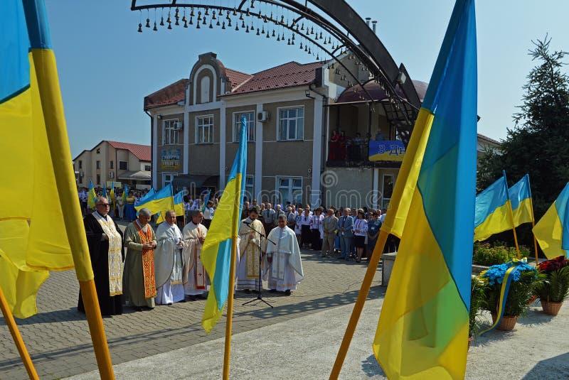 Viering van de Onafhankelijkheidsdag van de Oekraïne stock foto