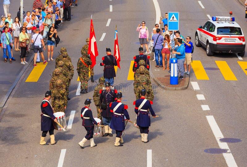 Viering van de Zwitserse Nationale Dag in de stad van Z?rich, Zwitserland royalty-vrije stock foto's